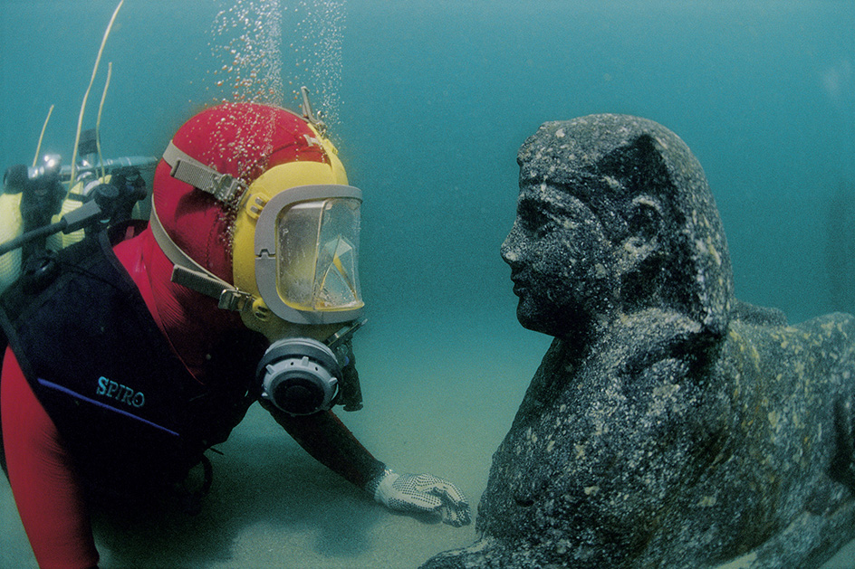 Diver Facing a Sphinx