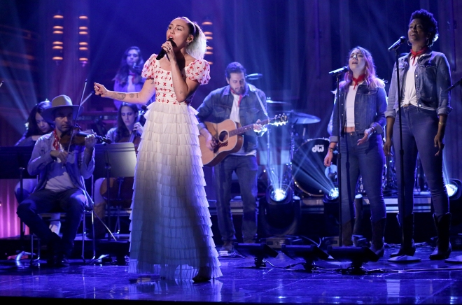 Miley Cyrus Performing Live at The Tonight Show with Jimmy Fallon